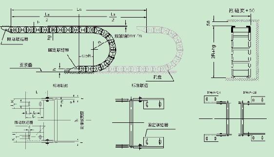 TL系列拖链的主体是由链板(优质钢板镀铬)支撑板(挤拉铝合金)轴销(合金钢)等部件组成,使电缆或橡胶管与拖链之间不产生相对运动,不产生扭曲变形,链板经镀铬处理外形效果新颖,结构合理,灵巧强度高,钢性好不变形,安装方便,使用可靠,易拆装,尤其是本产品采用了高强度耐磨材料,合金铜为轴销,提高了产品的耐磨强度,弯曲更灵活,阻力更小,降低了噪音,从而可保证长时间使用不变形,不下垂。 由于本产品外观精美,可在较大程度上增强机床设备的整体艺术美观效果,增强我国机床、机械设备在国际市场的竞争能力。 1.