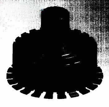 在零件的轮缘上均匀分布22个枞树形榫槽