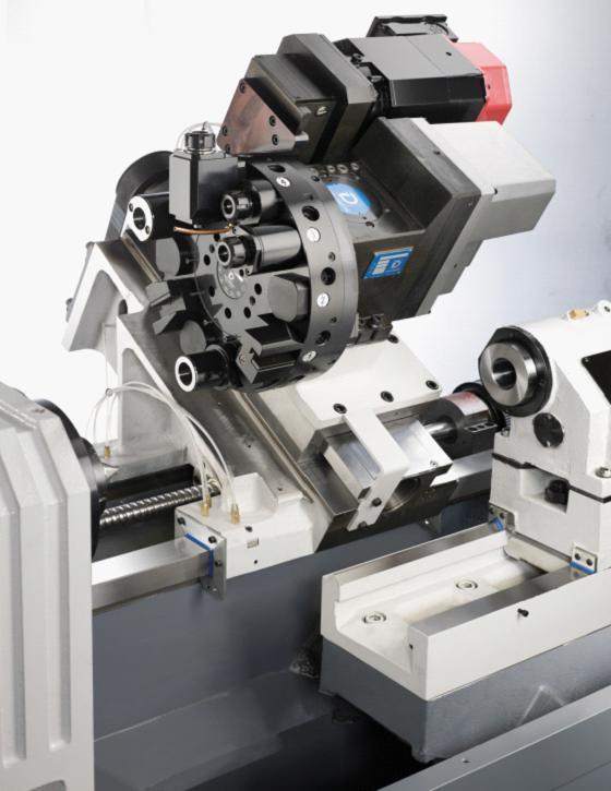 油压式马达通过齿轮驱动,快速换刀,采用曲面齿离合器的刚性结构,具有