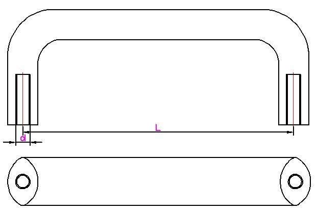 铝合金材质椭圆拉手CAD平面图
