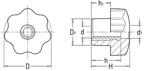 通孔星形把手(七星把手)CAD平面图