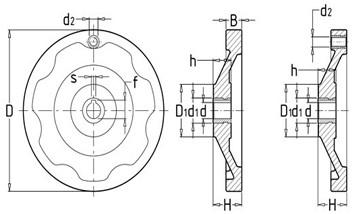 背面波纹手轮平面图