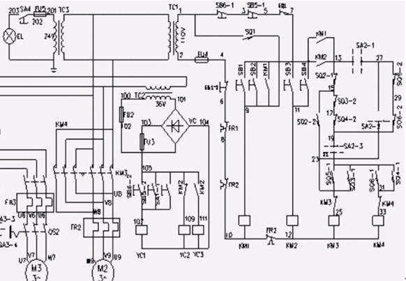 x62w型万能铣床控制电路图